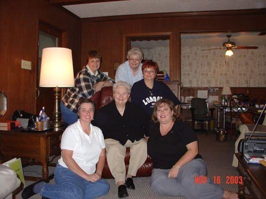BK (center) and the Groupies: (from left) Kathy Gresham, Terri Richison, Kay Hudson, Kay Sakaris, Ann Peake (Anne-Marie Novark took the picture)